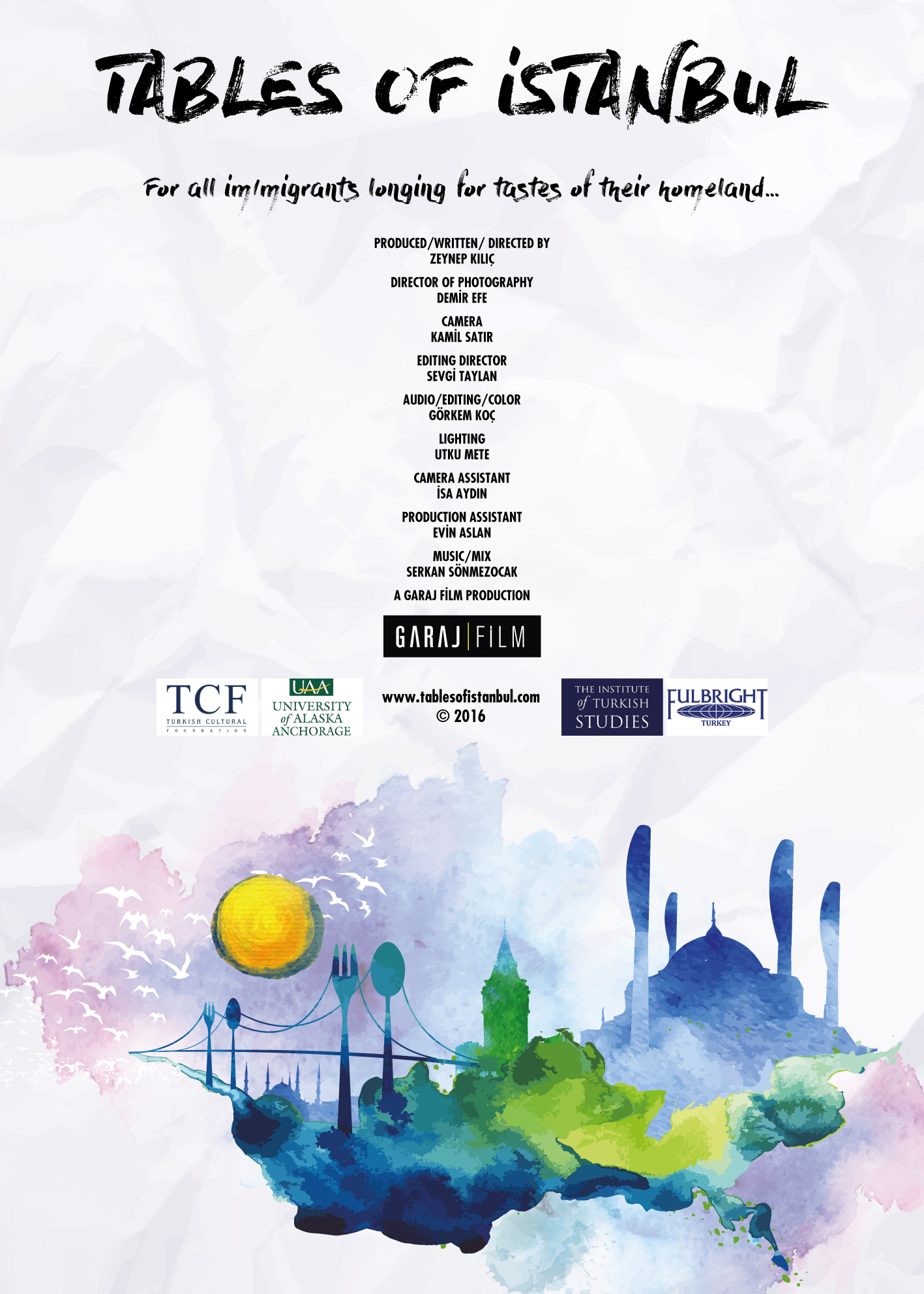 Tables of Istanbul – İstanbul Sofraları (2016) Showtime: June 10, 2017; 1:30pm